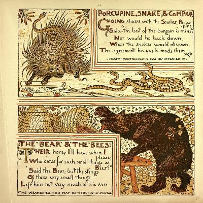 Porcupine Snake and Company the Bear and the Bees--Giclee Print