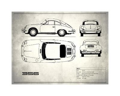 Porsche 356C White-Mark Rogan-Giclee Print