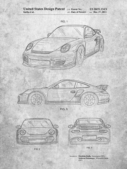 Porsche 911 with Spoiler Patent-Cole Borders-Art Print