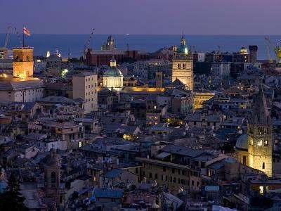 Port and Cityscape at Dusk, Genoa, Liguria, Italy, Europe-Charles Bowman-Photographic Print