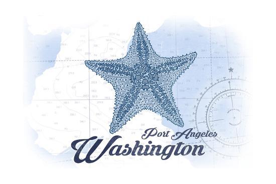 Port Angeles, Washington - Starfish - Blue - Coastal Icon-Lantern Press-Art Print