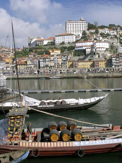 Port Barges on Douro River, with City Beyond, Oporto (Porto), Portugal-Upperhall-Photographic Print