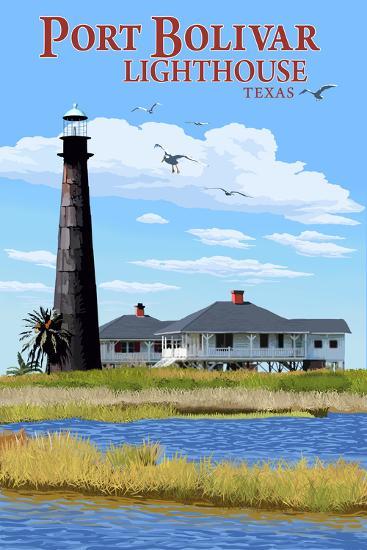 Port Bolivar, Texas - Lighthouse-Lantern Press-Wall Mural