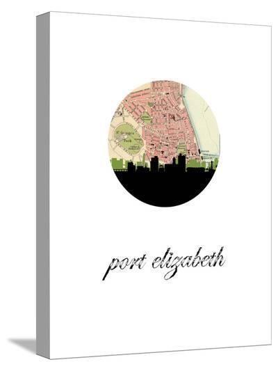 Port Elizabeth Map Skyline-Paperfinch 0-Stretched Canvas Print