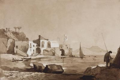 Port Flying the Borbone Flag with Vesuvius to the South-Achille Vianelli-Giclee Print