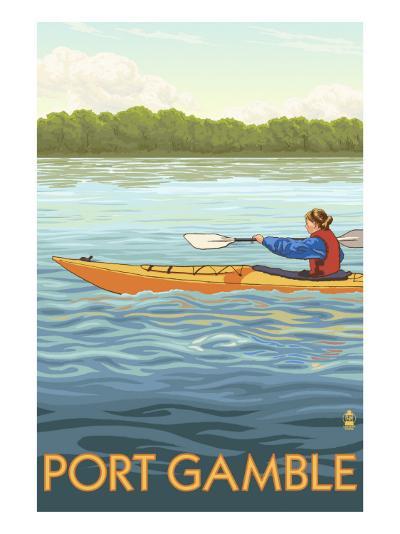 Port Gamble, Washington - Kayak Scene-Lantern Press-Art Print