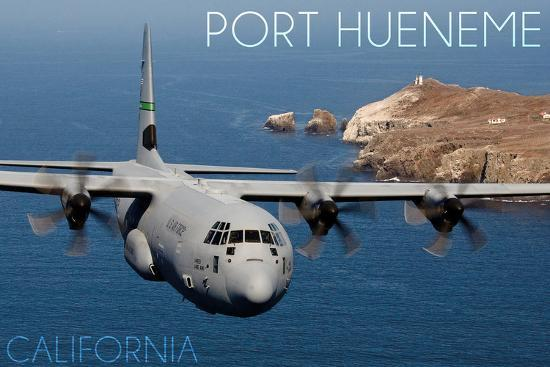 Port Hueneme, California - Hercules Airplane-Lantern Press-Wall Mural