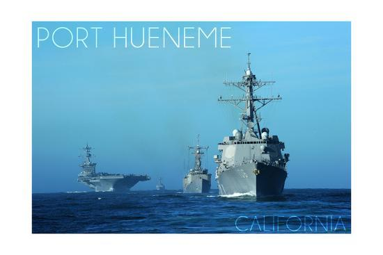 Port Hueneme, California - USS Stockdale and USS Gary-Lantern Press-Art Print