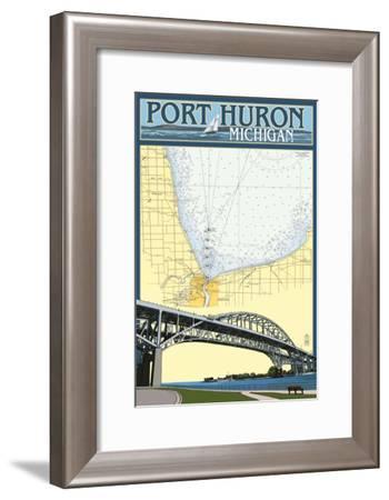 Port Huron, Michigan - Nautical Chart-Lantern Press-Framed Art Print