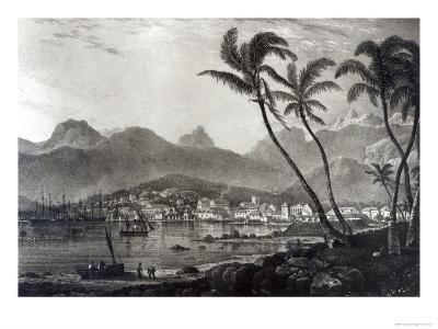 Port Louis from Views in the Mauritius by T.Bradshaw, Engraved by William Rider, 1831-T. Bradshaw-Giclee Print