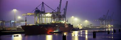 Port, Night, Illuminated, Hamburg, Germany--Photographic Print