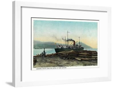 Port Orford, Oregon - Logging Ship Loading Cedar Logs for Japan-Lantern Press-Framed Art Print