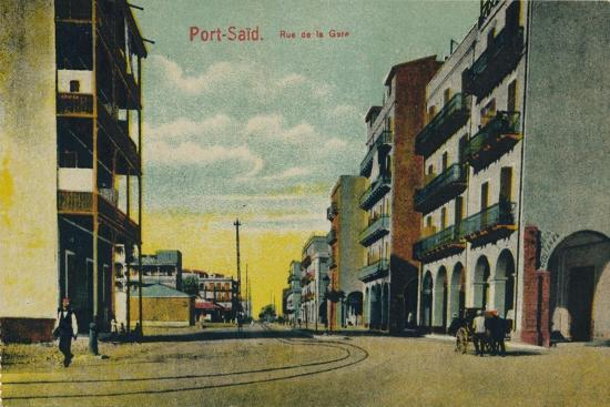 'Port-Said. Rue de la Gare', c1900-Unknown-Giclee Print