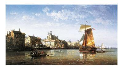 Port Scene, France-Charles Euphrasie Kuwasseg-Art Print