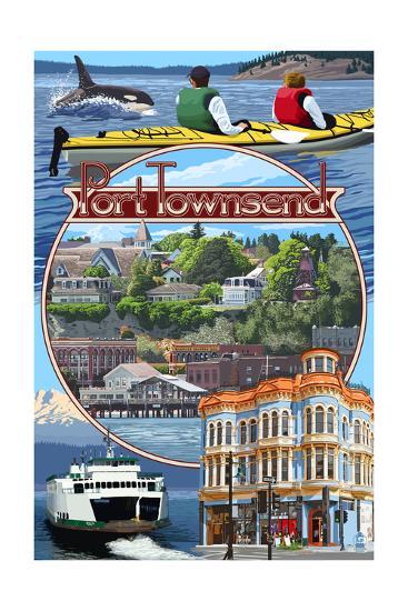 Port Townsend, Washington - Montage Scenes-Lantern Press-Art Print