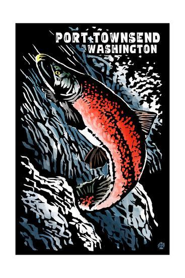 Port Townsend, Washington - Sockeye Salmon - Scratchboard-Lantern Press-Art Print