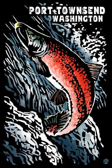 Port Townsend, Washington - Sockeye Salmon - Scratchboard-Lantern Press-Wall Mural