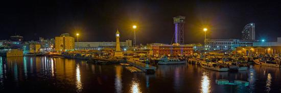Port Vell at night, Barcelona, Catalonia, Spain--Photographic Print