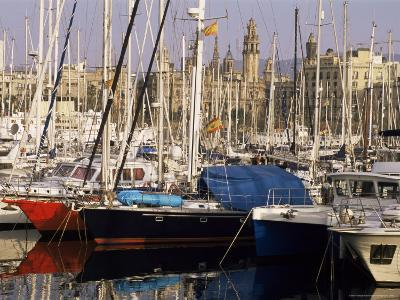 Port Vell (Old Port) and Old City Behind, Barcelona, Catalonia, Spain-Charles Bowman-Photographic Print