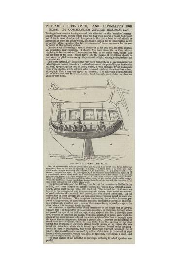 Portable Life-Boats, and Life-Rafts for Ships, by Commander George Beadon, Rn--Giclee Print