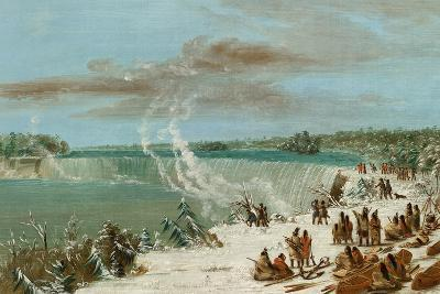 Portage around the Falls of Niagara at Table Rock, 1847- 48-George Catlin-Giclee Print