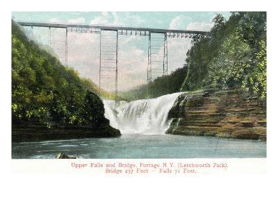 Portage, New York - Letchworth Park, View of Upper Falls and the Bridge-Lantern Press-Art Print