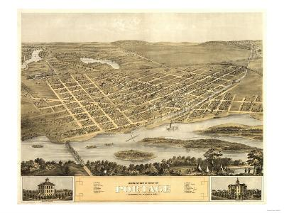 Portage, Wisconsin - Panoramic Map-Lantern Press-Art Print