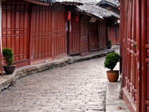 Early Morning Cobbled Street, Lijiang Old Town, UNESCO World Heritage Site, Yunnan, China by Porteous Rod