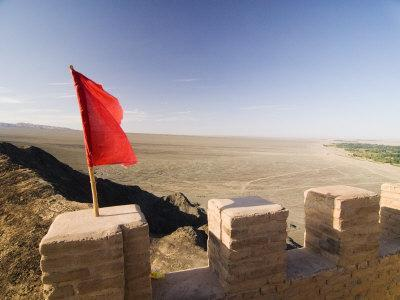 Red Flag Flying on Overhanging Great Wall, UNESCO World Heritage Site, Jiayuguan, Gansu, China