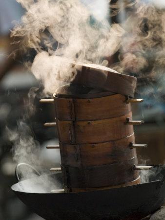 Steaming Baskets on Wok, Leshan, Sichuan, China