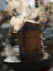 Steaming Baskets on Wok, Leshan, Sichuan, China by Porteous Rod