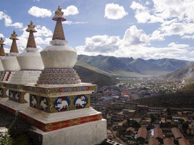 View of Yushu Town from Temple, Yushu, Qinghai, China