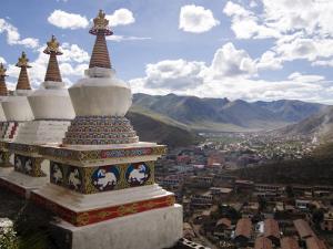 View of Yushu Town from Temple, Yushu, Qinghai, China by Porteous Rod
