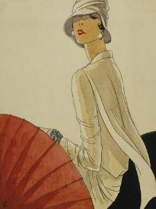 Vogue - January 1928 - Red Parasol by Porter Woodruff