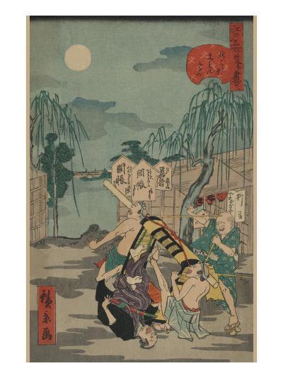 Porters Drop a Man Being Carried in a Sedan Chair-Ando Hiroshige-Art Print