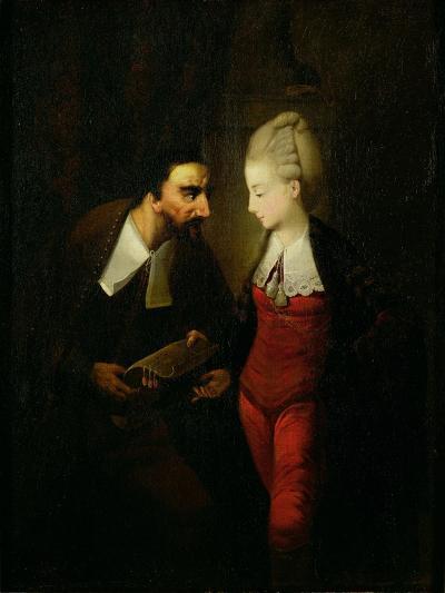 Portia and Shylock from 'The Merchant of Venice' Act IV, Scene I, c.1778-Edward Alcock-Giclee Print