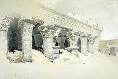 Portico of the Sandstone Temple of Edfu Dedicated to the Falcon-Headed God Horus, Egypt, 1838-Louis Haghe-Giclee Print