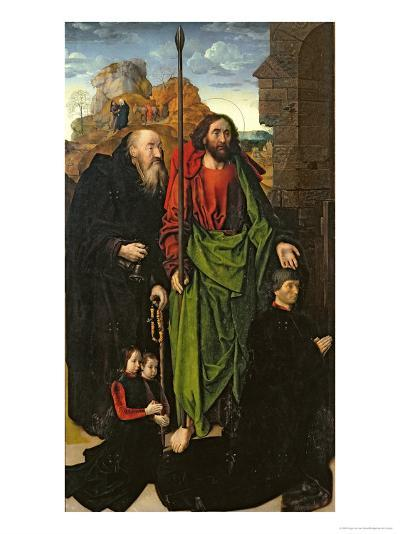 Portinari Altarpiece, St. Thomas and St. Anthony with Tommaso Portinari and Two Sons, c.1479-Hugo van der Goes-Giclee Print