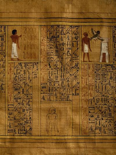 Portion of Book of Dead with Text in Vertical Columns of Hieroglyphs--Giclee Print