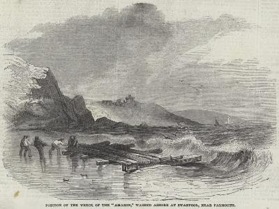 Portion of the Wreck of the Amazon, Washed Ashore at Swanpool, Near Falmouth--Giclee Print