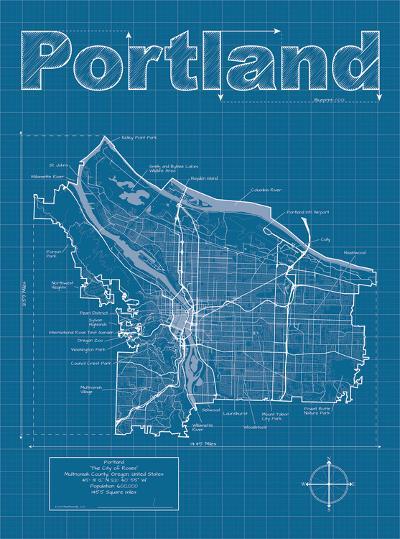 Portland Artistic Blueprint Map-Christopher Estes-Art Print