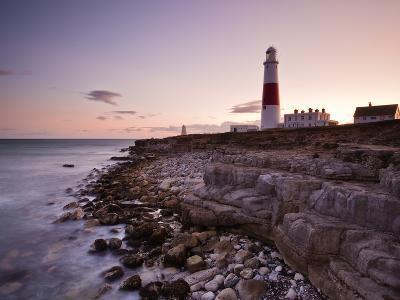 Portland Bill Lighthouse at Sunset, Dorset, England, United Kingdom, Europe-Julian Elliott-Photographic Print