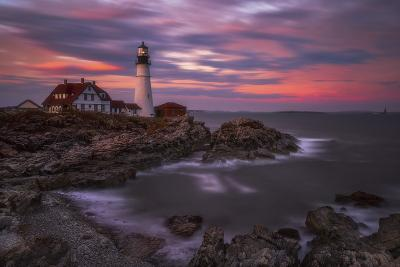 Portland Head Sunset-Darren White Photography-Photographic Print