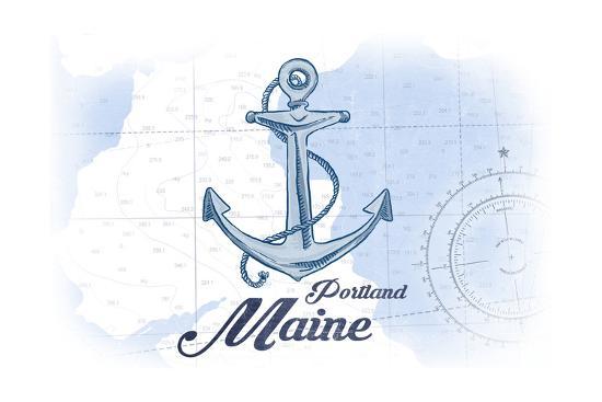 Portland, Maine - Anchor - Blue - Coastal Icon-Lantern Press-Art Print