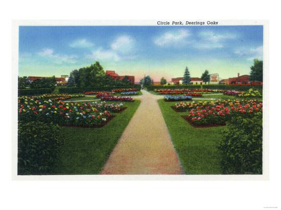 Portland, Maine - Deering Oaks Circle Park View-Lantern Press-Art Print