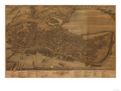 Portland, Maine - Panoramic Map-Lantern Press-Art Print