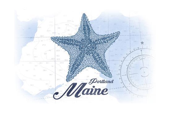 Portland, Maine - Starfish - Blue - Coastal Icon-Lantern Press-Art Print
