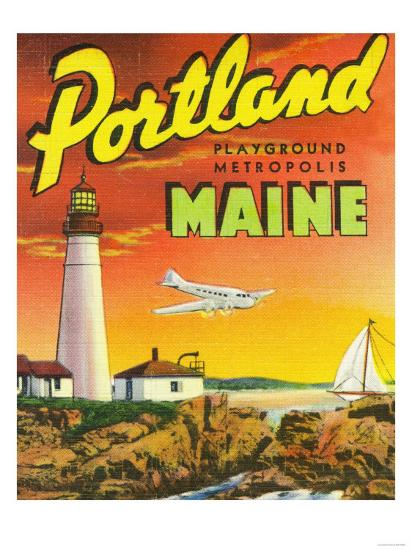 Portland, Maine - The Playground Metropolis, View of a Plane and Lighthouse-Lantern Press-Art Print