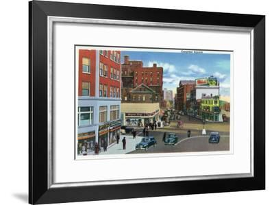 Portland, Maine - View of Congress Square-Lantern Press-Framed Art Print