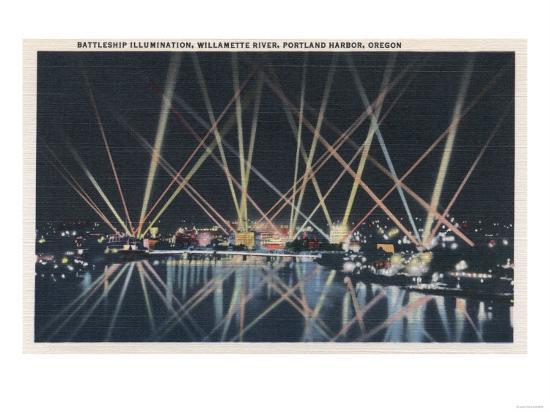 Portland, OR - Battleship Illumination, Willamette River-Lantern Press-Art Print